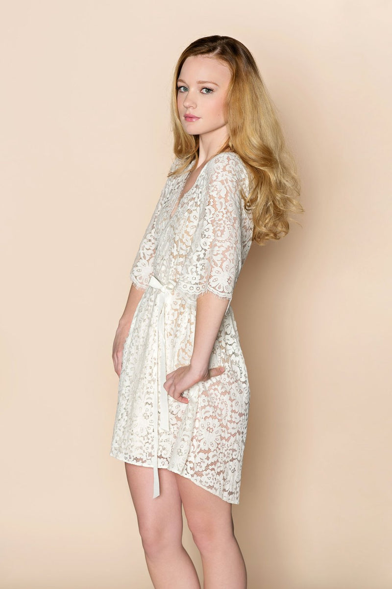 ELIZABETH BRIDAL LACE ROBE IN IVORY - STYLE 120