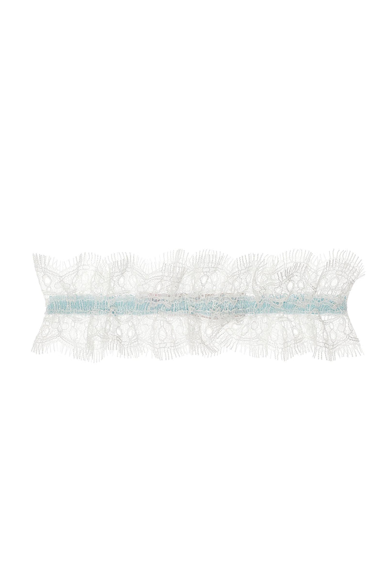Dainty French lace garter in Something blue