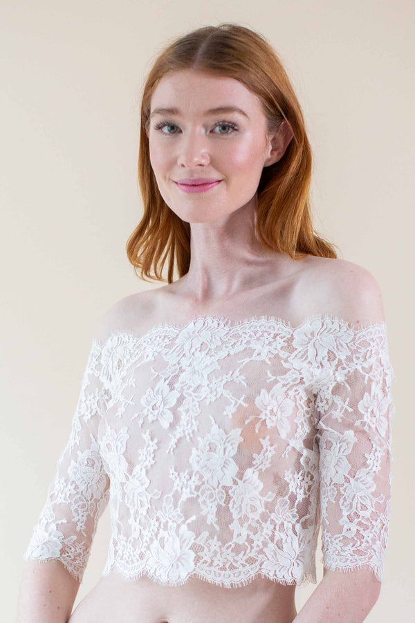 Dominique French lace off-the-shoulder topper in Ivory