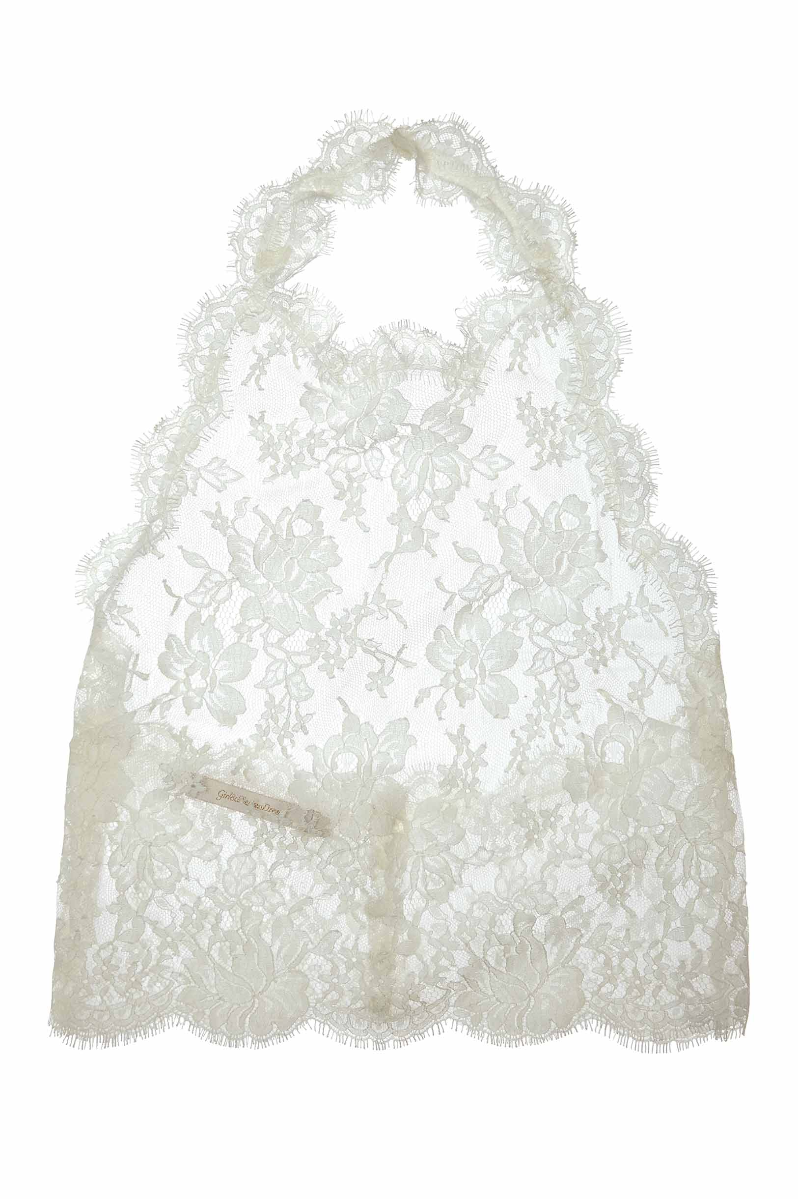 Dominique halter French lace top cover-up in Ivory