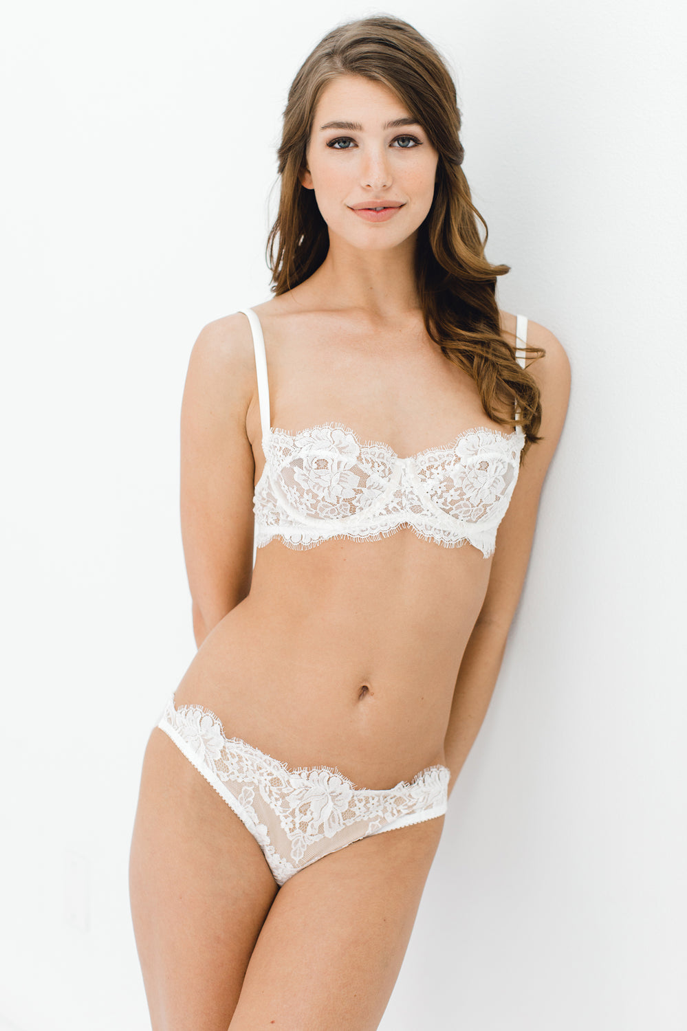 Dominique French lace bikini panties briefs in Ivory
