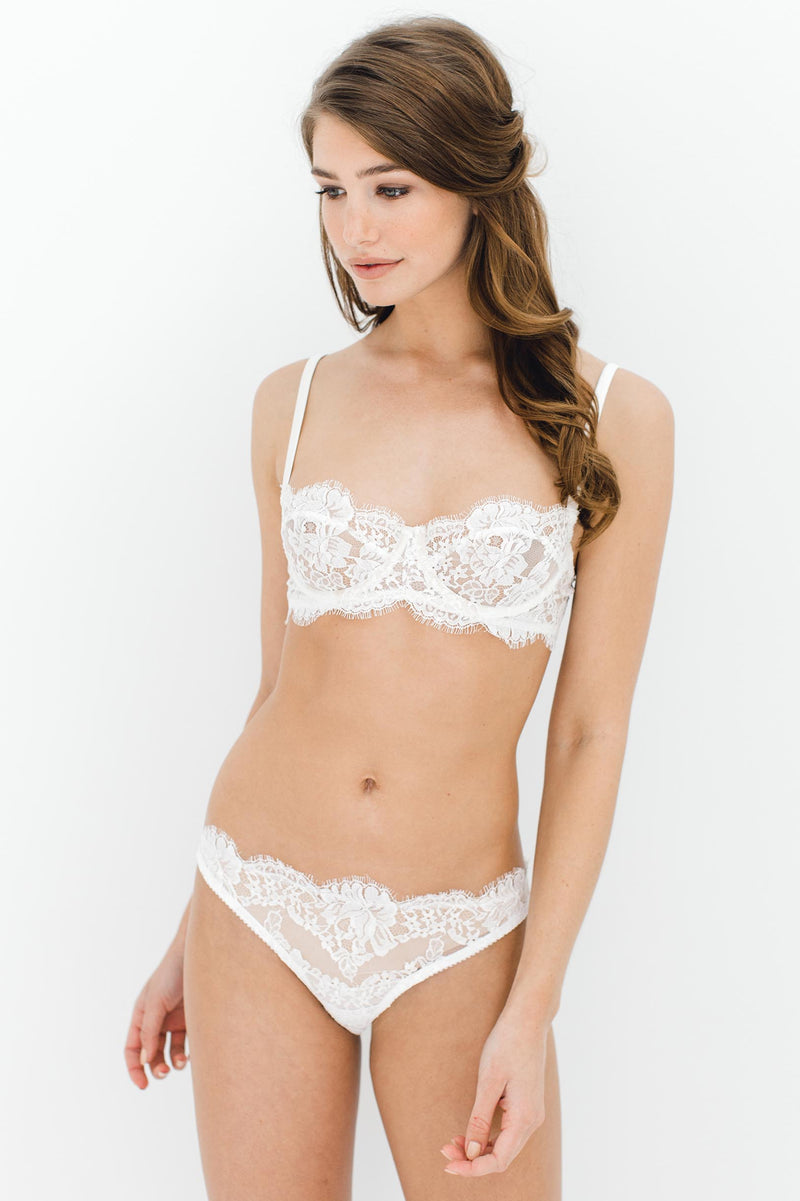 Dominique French lace underwire balconette demi cup bra in Ivory