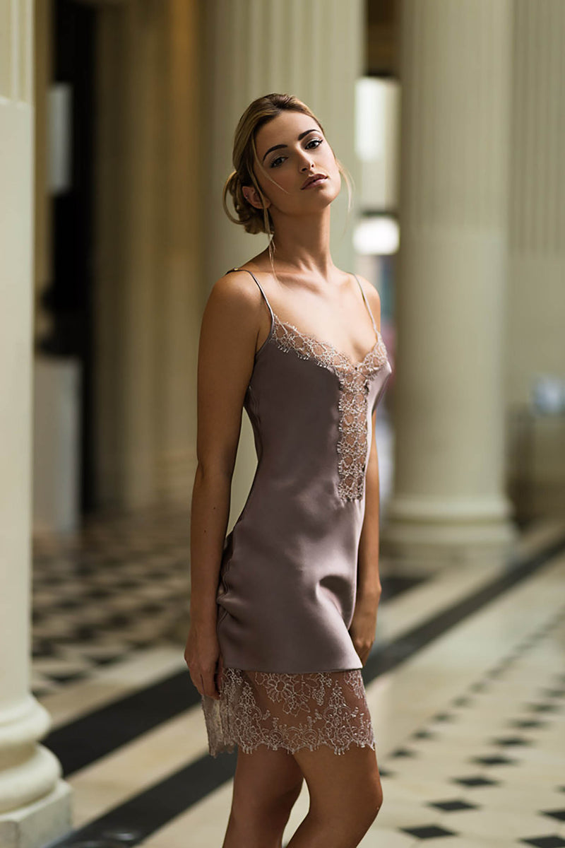 Marlene French Lace and silk chemise slip dress