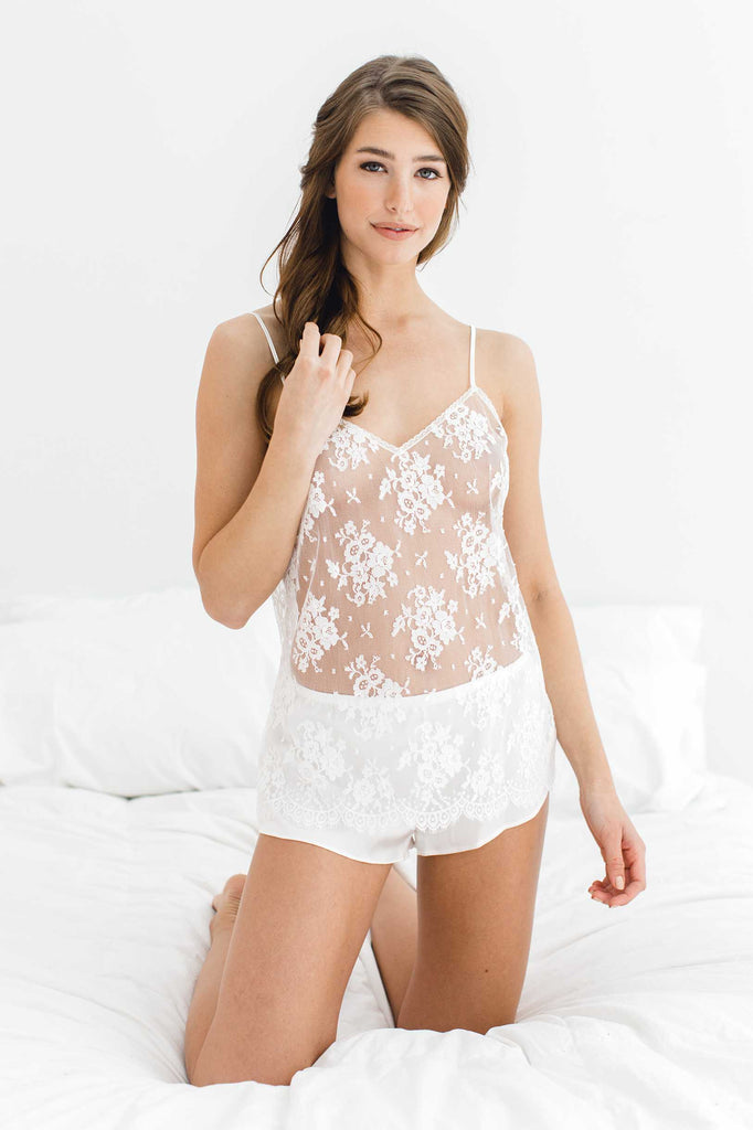 Olympia French Lace Camisole Tank Top Cami in Ivory or Black