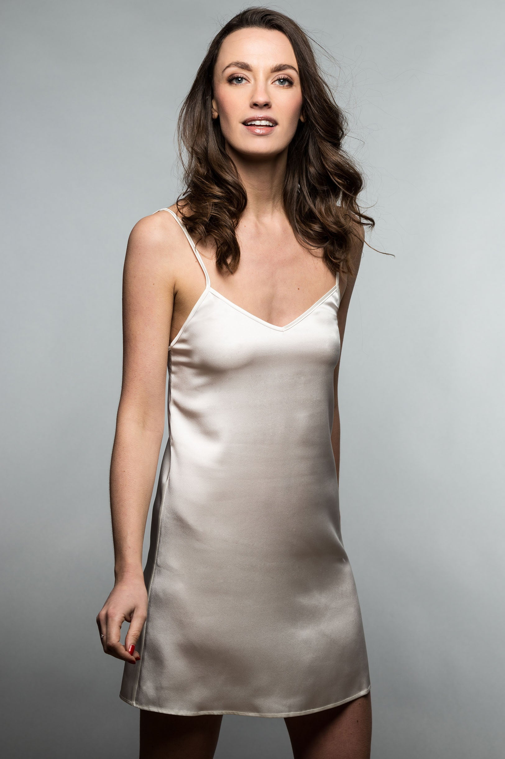 Parisienne Silk Satin Camisole Slip Dress Chemise in Ivory, Nude or Black