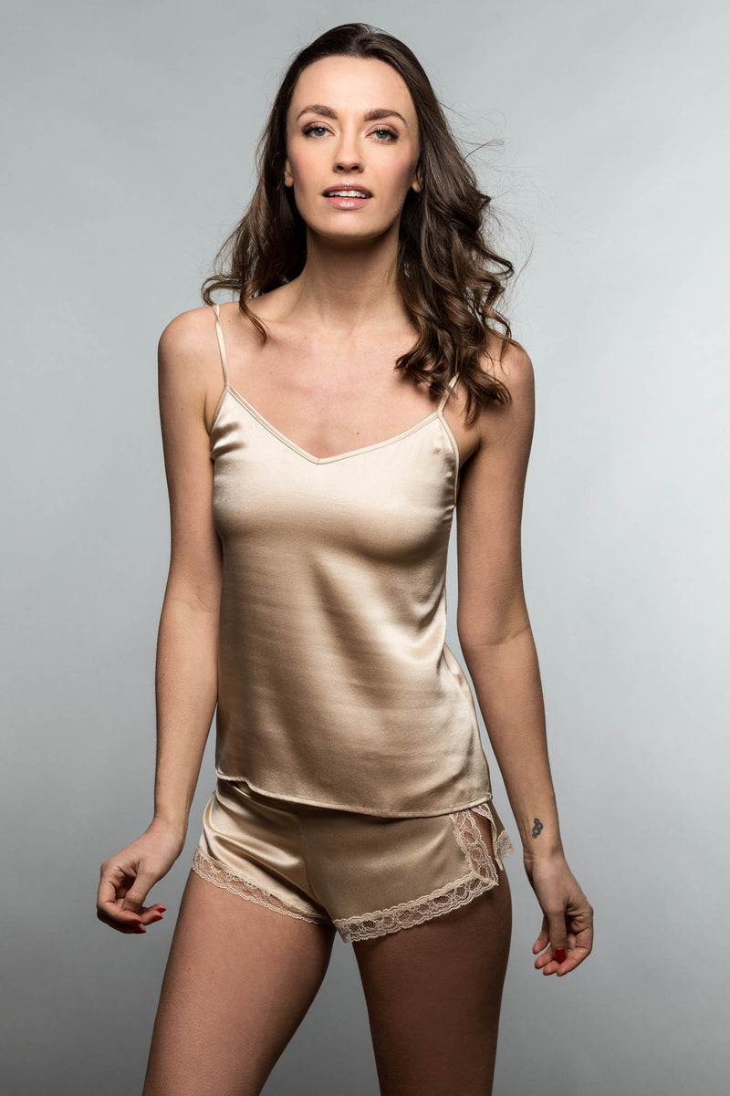 Garconne Silk Camisole Tank Top Cami in Ivory, Nude or Black