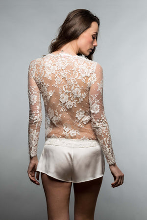 Vendome French Lace blouse top in Ivory, Antique Pink or Black