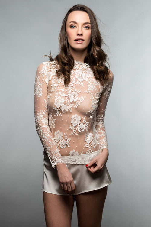Vendome French Lace blouse top Long Sleeves in Ivory, Antique Pink or Black