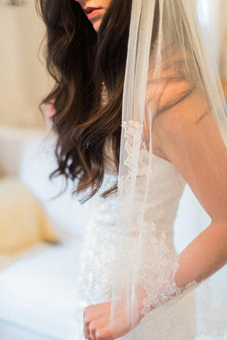 Whimsy French lace Mantilla veil in Ivory