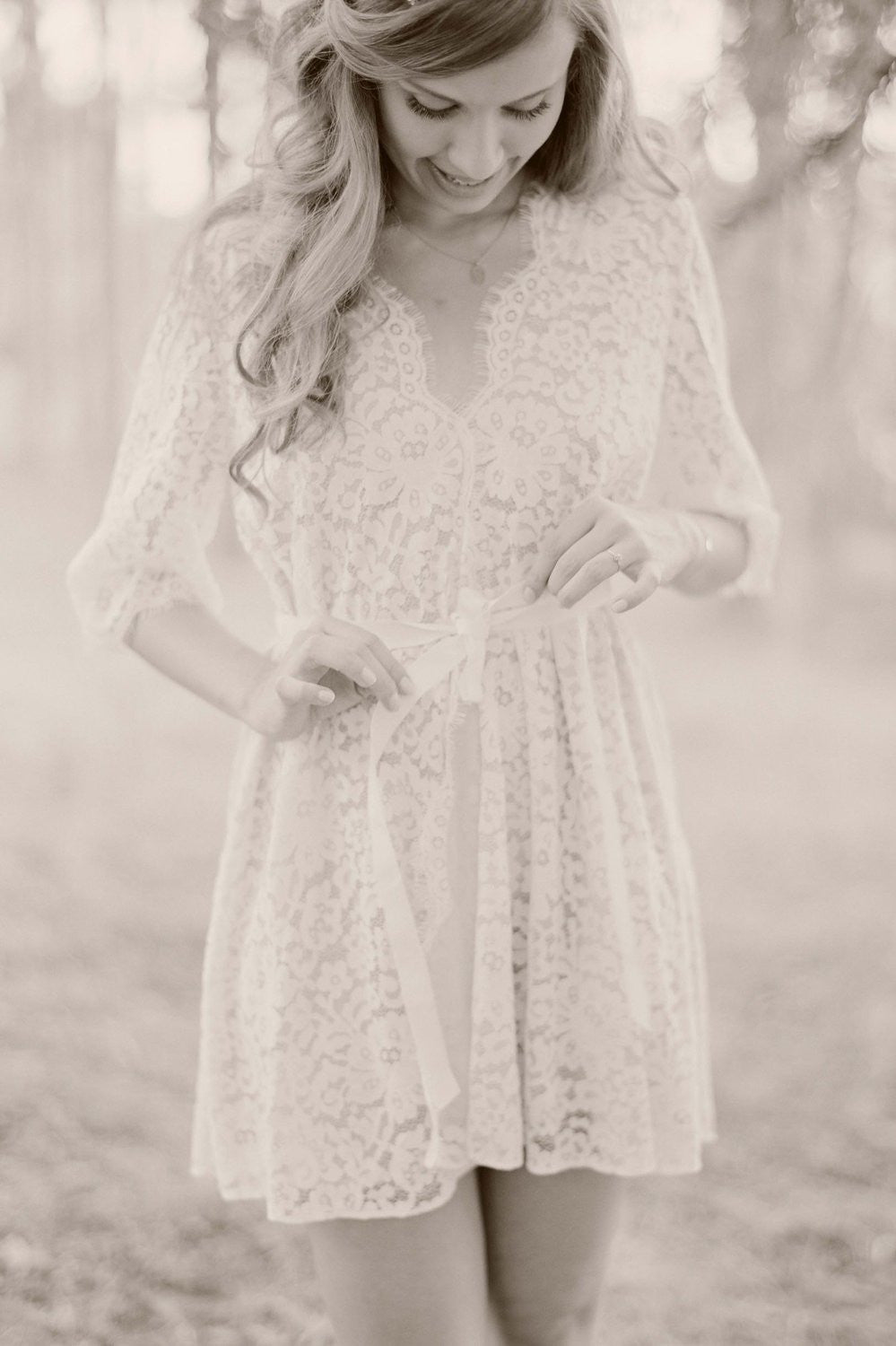 ELIZABETH LACE ROBE IN IVORY LINED - STYLE 122