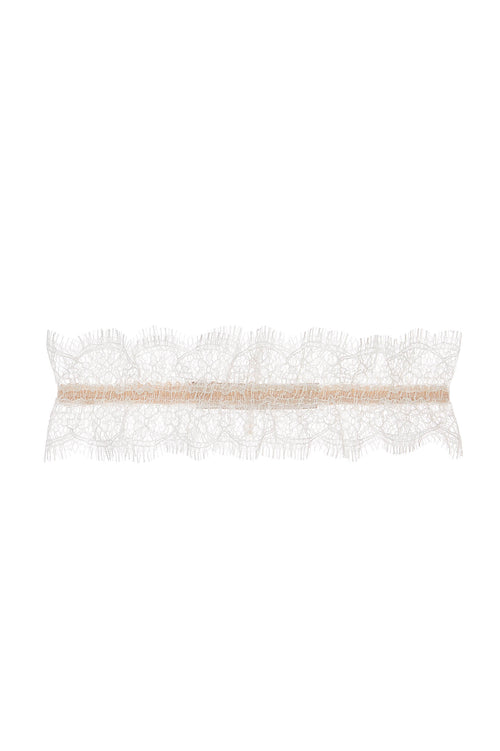 Flora French lace garter in Blushing ivory
