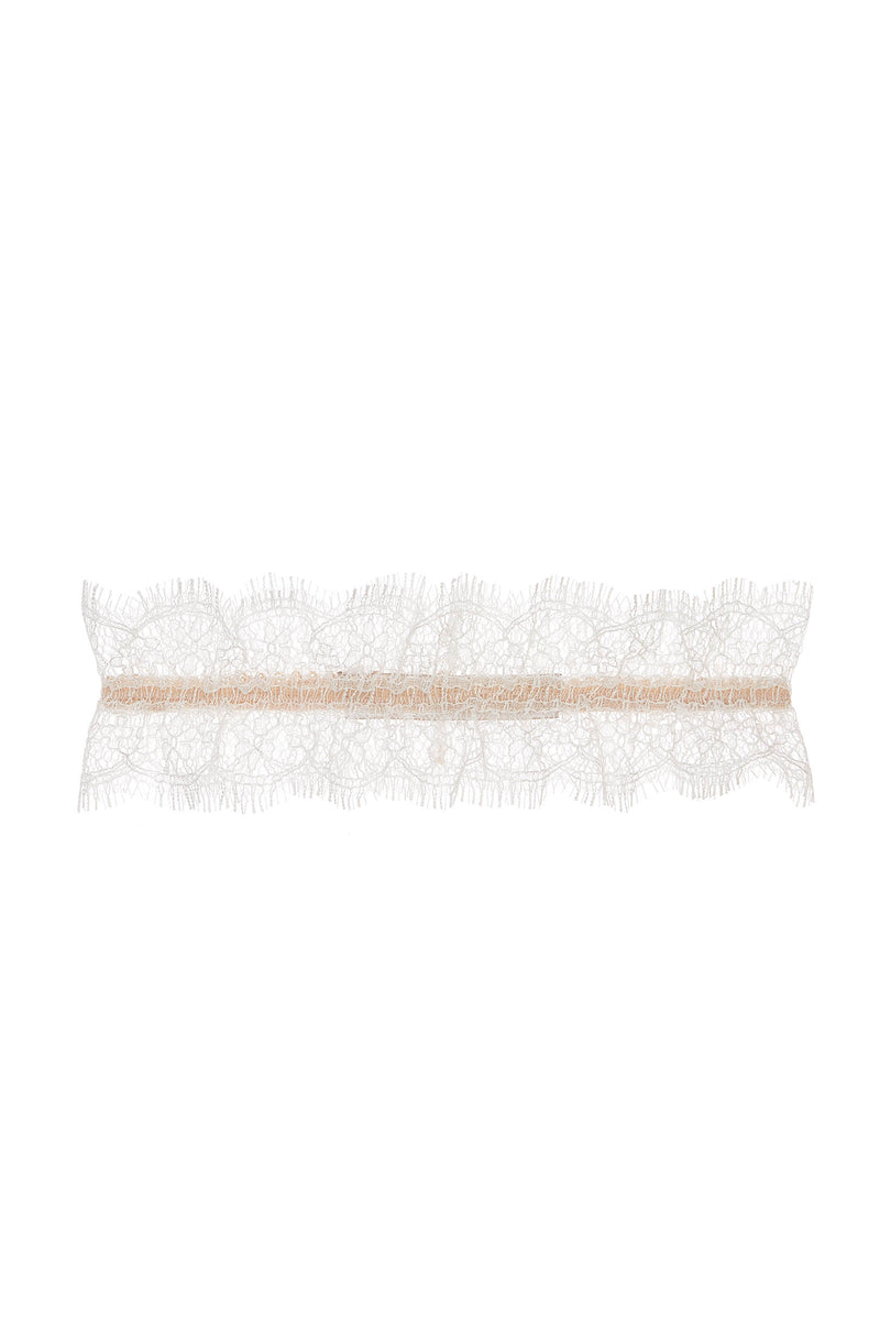 Flora French lace garter in Ivory