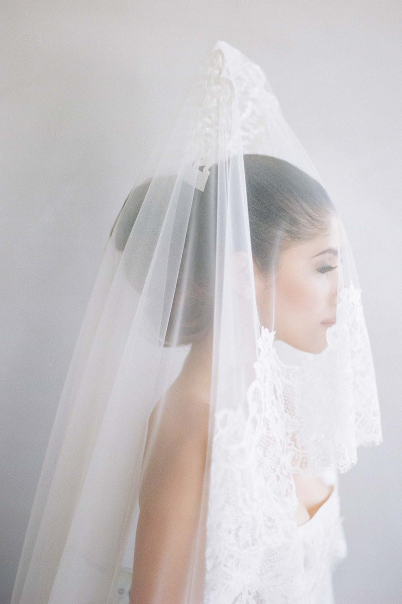 Madrid French lace mantilla blusher veil in ivory Elizabeth Messina bride