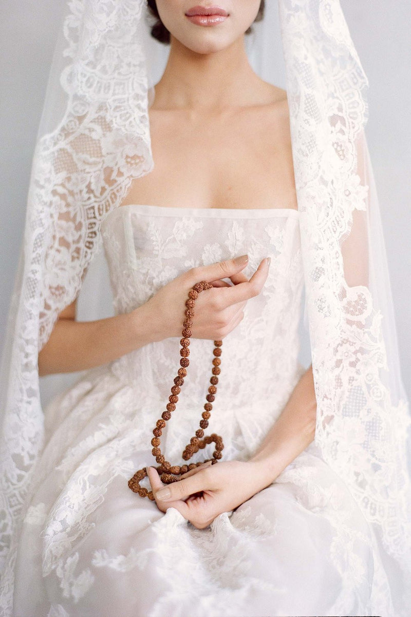 Madrid French lace mantilla blusher veil in ivory Joy Proctor design