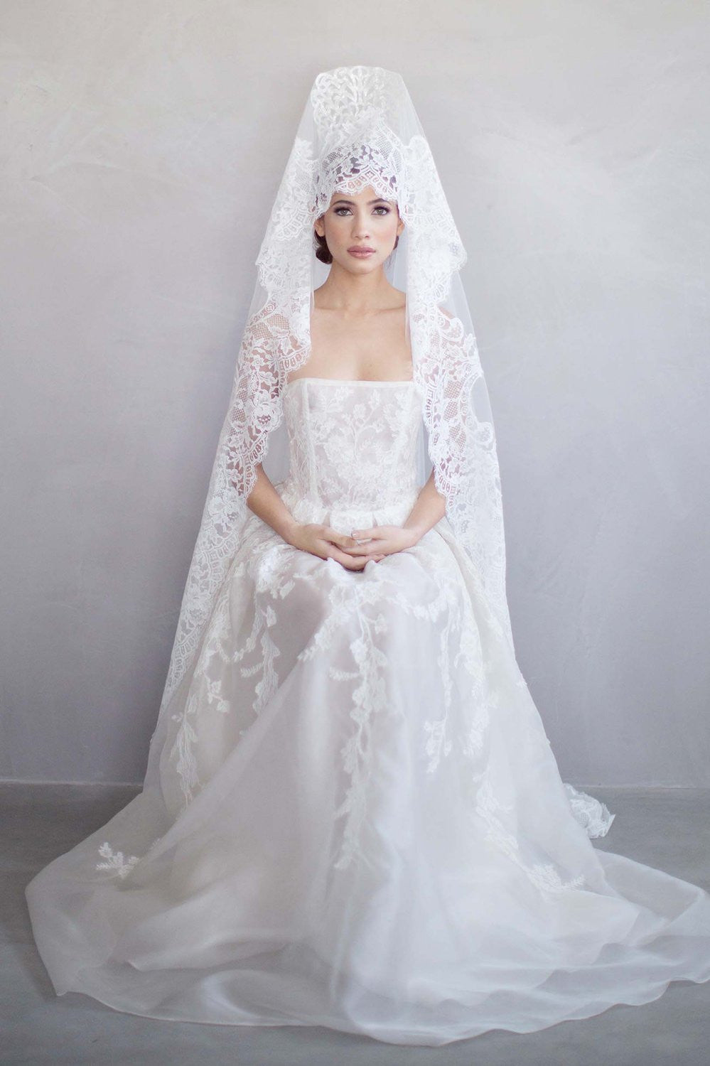 Madrid French lace mantilla blusher veil in ivory ...