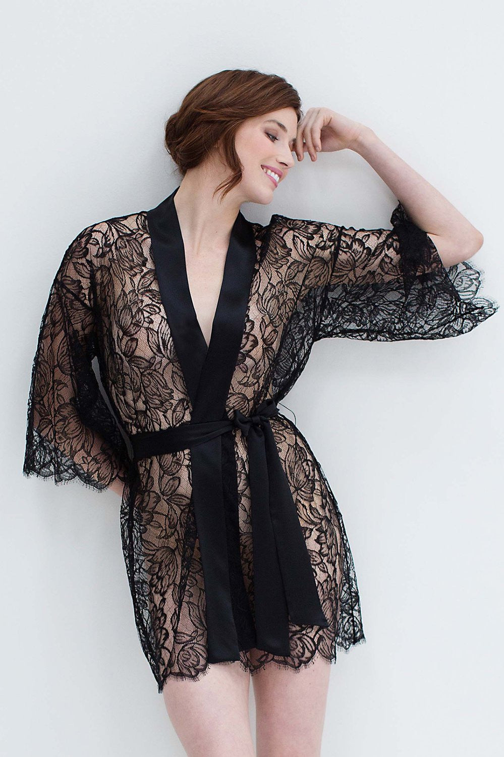 TULIP FRENCH LACE & SILK BRIDAL KIMONO ROBE IN BLACK