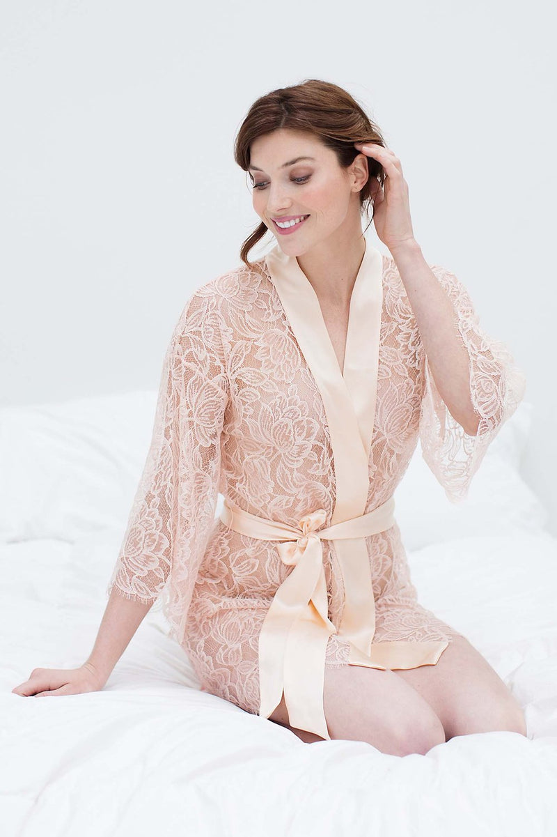 Tulip French Lace & Silk Kimono Robe in Garnet Red