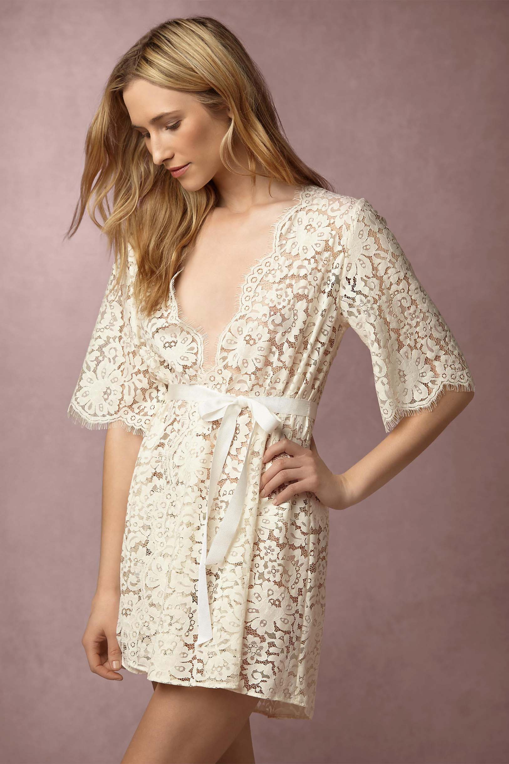 Girl&aSeriousDream for BHLDN Araminta Lace Robe in Ivory