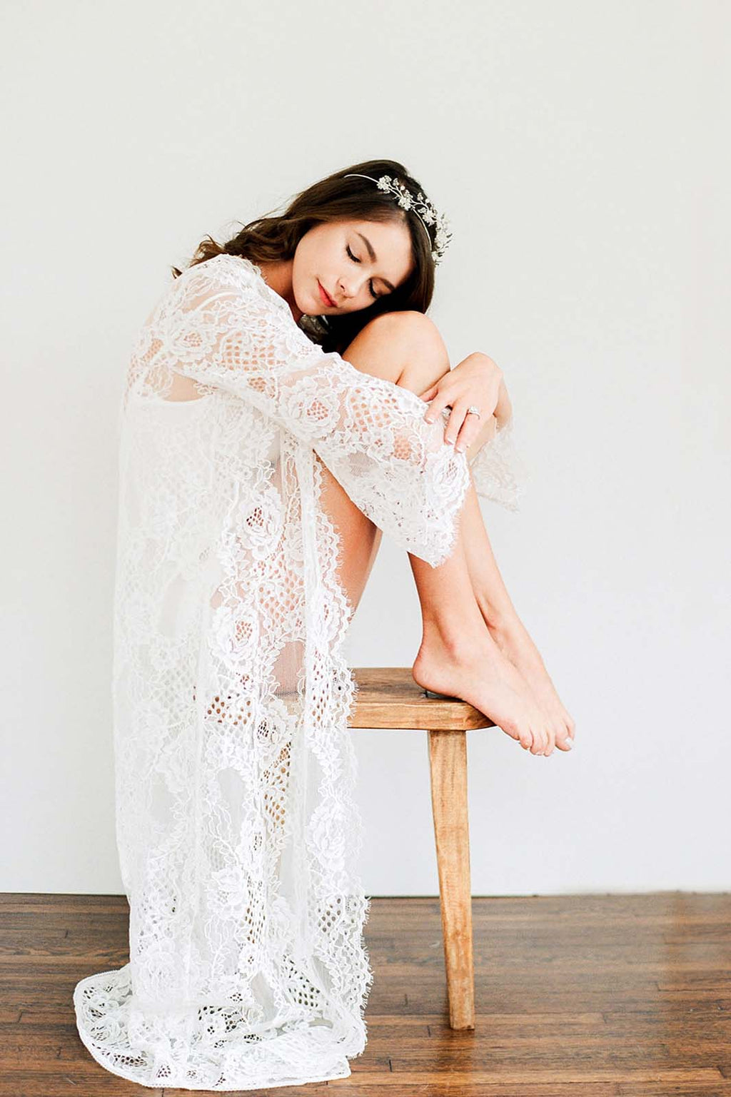 Leah boho lace robe in Ivory or Black