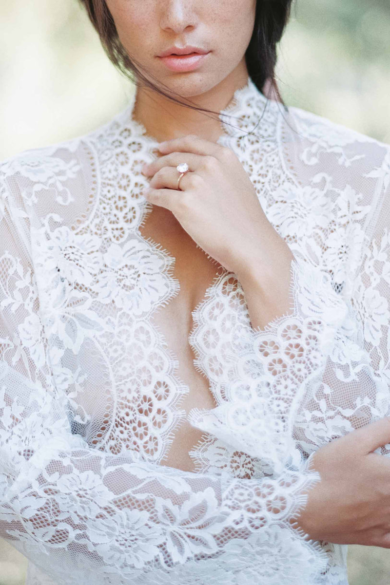 Swan Queen bridal lace robe long getting ready wedding gown Ivory
