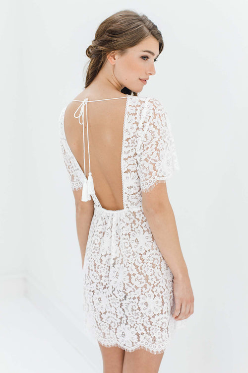 Sunshine Open back lace robe with tassels in Off white