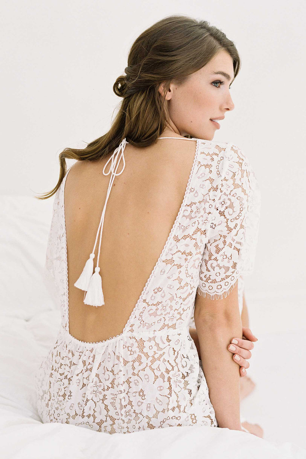 Sunshine Open back lace robe with tassel in Off white