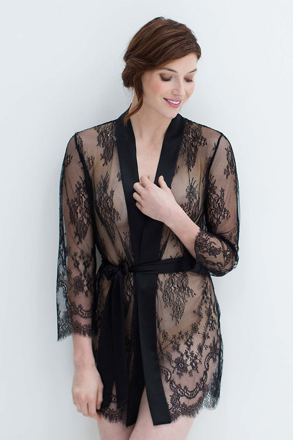 Art deco lace robe in Black bridal women cover up sheer engaged wedding