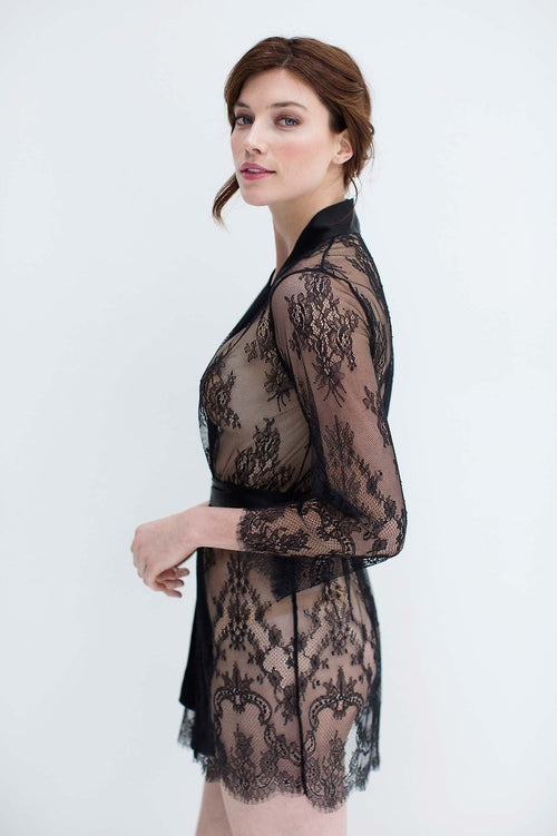 ART DECO LACE ROBE IN BLACK - STYLE R900