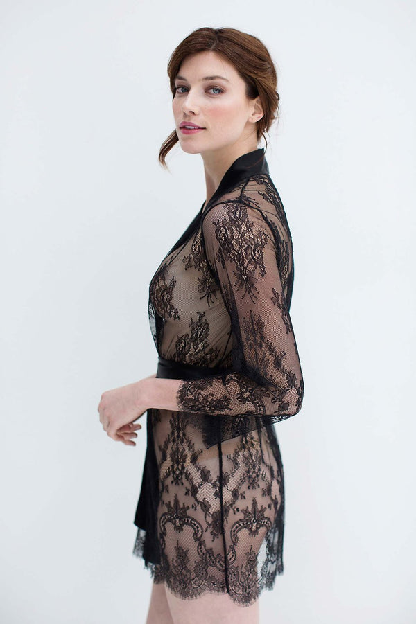 Art deco lace robe in Black bridal women cover up sheer