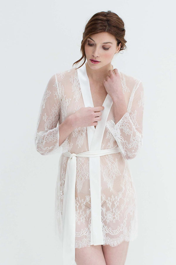 Art deco lace robe in White honeymoon sheet coverup