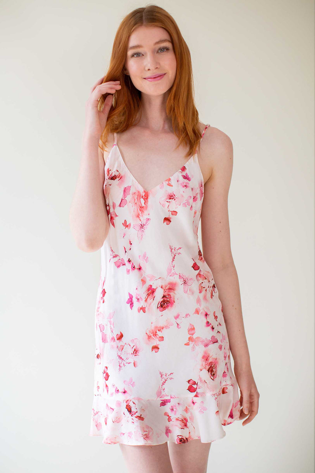 Botanical love Flounce Bias cut slip dress in Pink floral