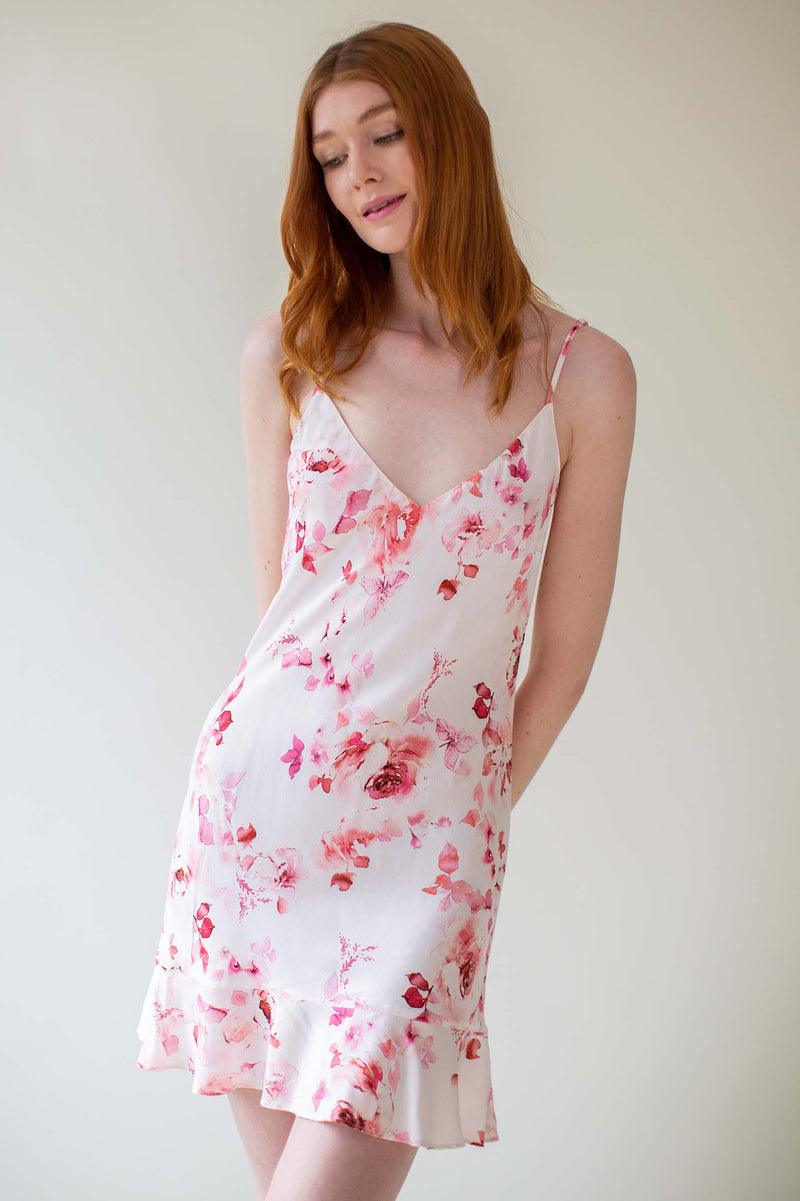 GirlandaSeriousDream Botanical love Flounce slip dress pink floral ivory bridesmaids