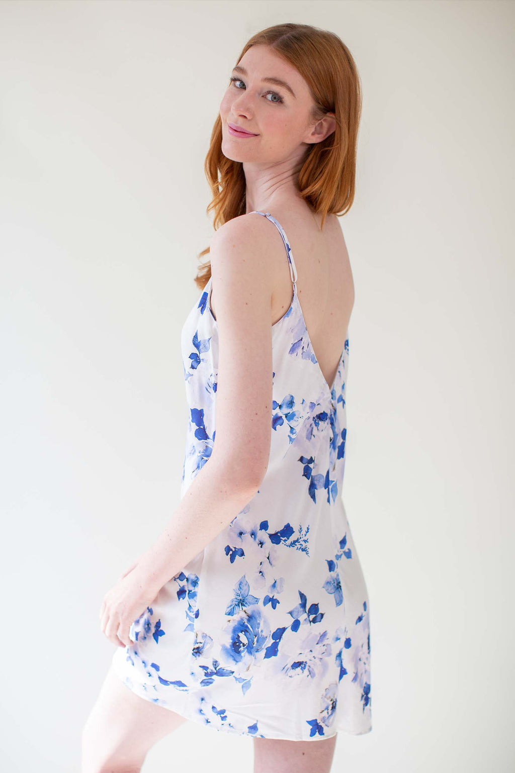 Botanical love Bias cut slip dress in blue
