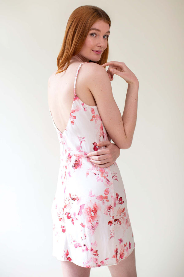 Botanical love Bias cut slip dress in pink floral