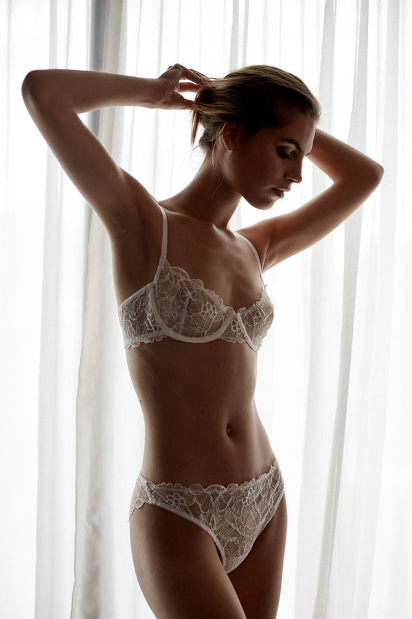 Ines French Lace underwire Demi cup bra and briefs set in Ivory
