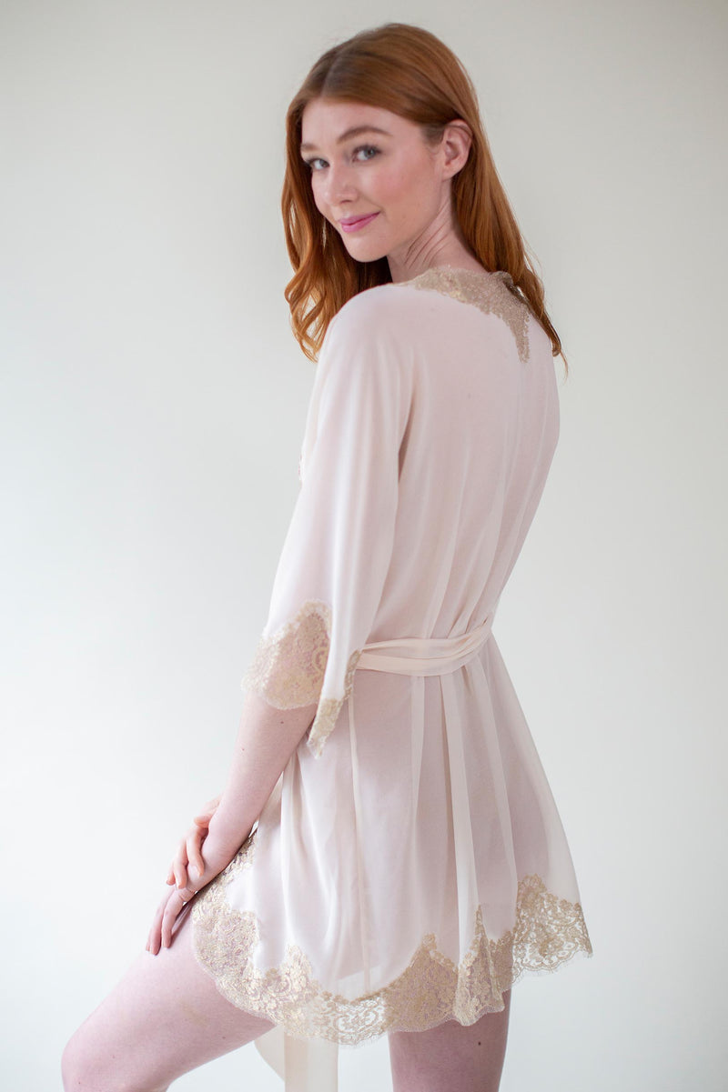 Olivia French lace robe in rose gold