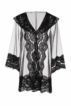 Amalfi Hooded Tulle French Lace boudoir kimono robe Black