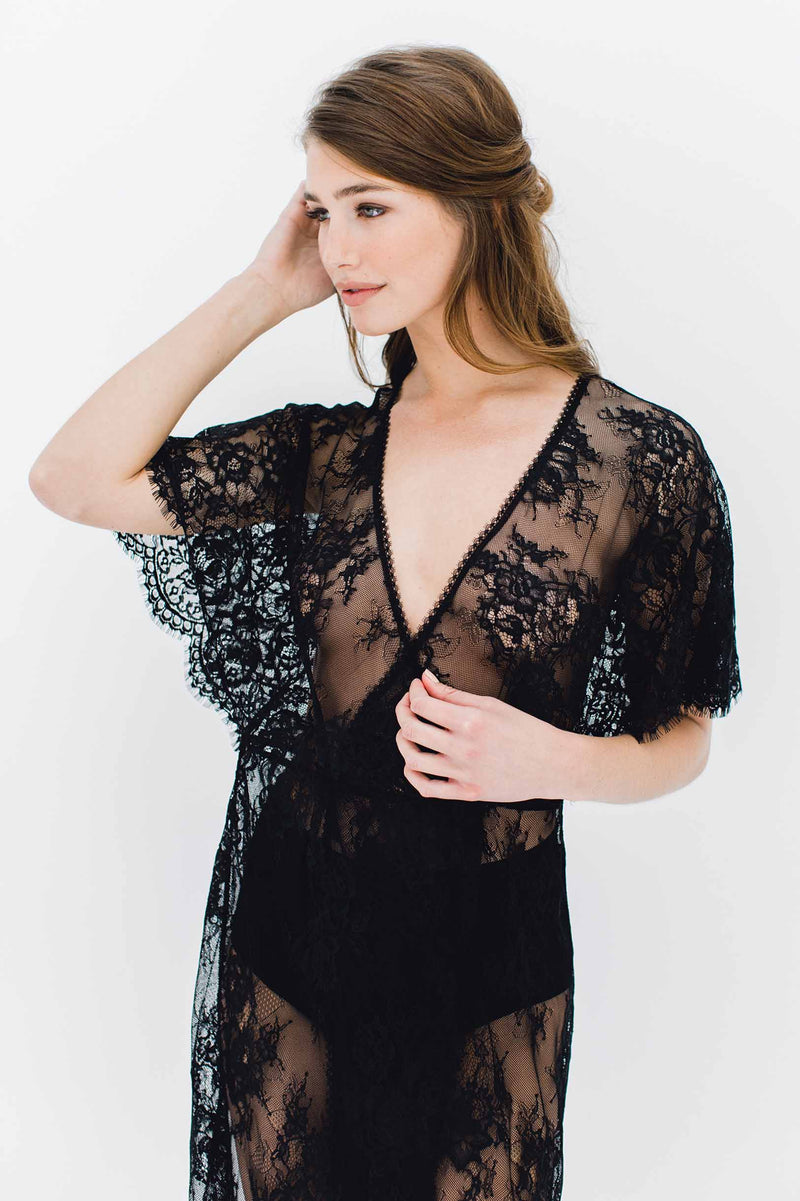 Anita Midi lace robe with flutter kimono sleeves in Black honeymoon night cover up