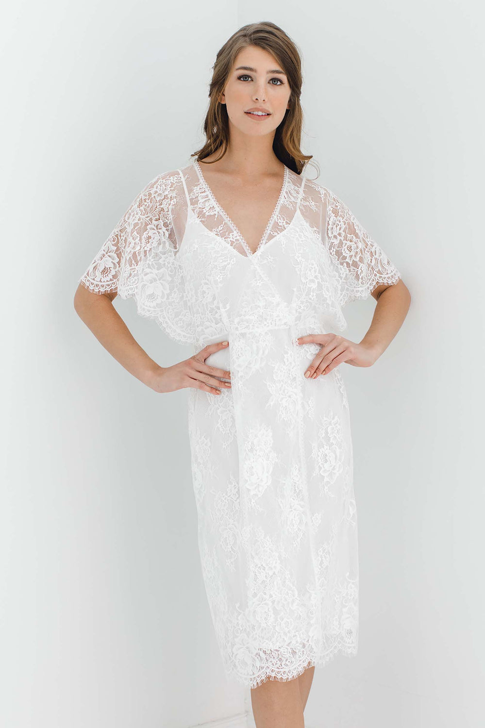 21b0e667489 Anita Midi lace robe with flutter kimono sleeves in Ivory ...