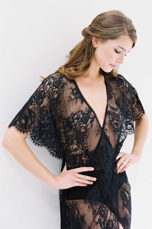 Anita Midi lace robe with flutter kimono sleeves in Black
