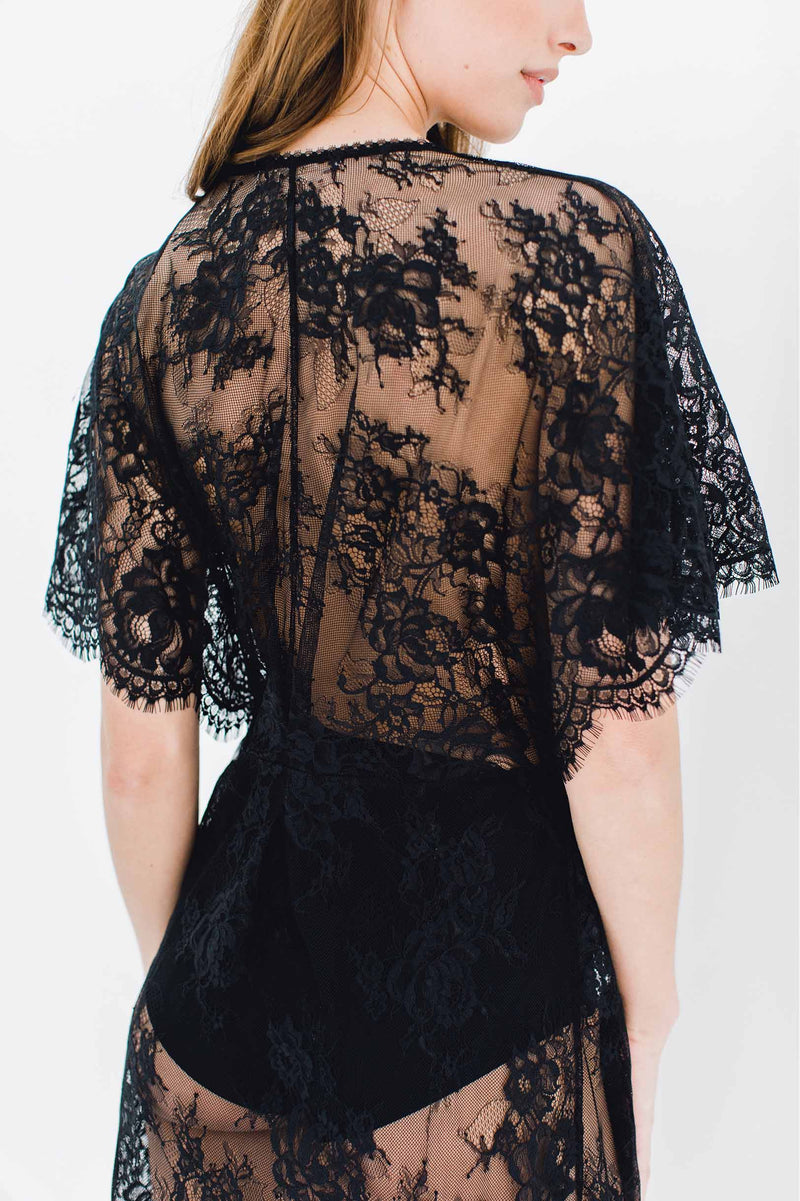 Anita Midi lace robe with flutter kimono sleeves in Black floral lace sheer wrap