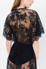 Anita Midi lace robe with flutter kimono sleeves in Black floral lace cover up sheer wrap