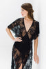 Anita Midi lace robe with flutter kimono sleeves in Black wedding dresses bridal lingerie