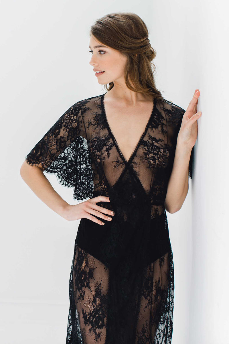 Anita Midi lace robe with flutter kimono sleeves in Black floral lace cardigan cover up bridal shower