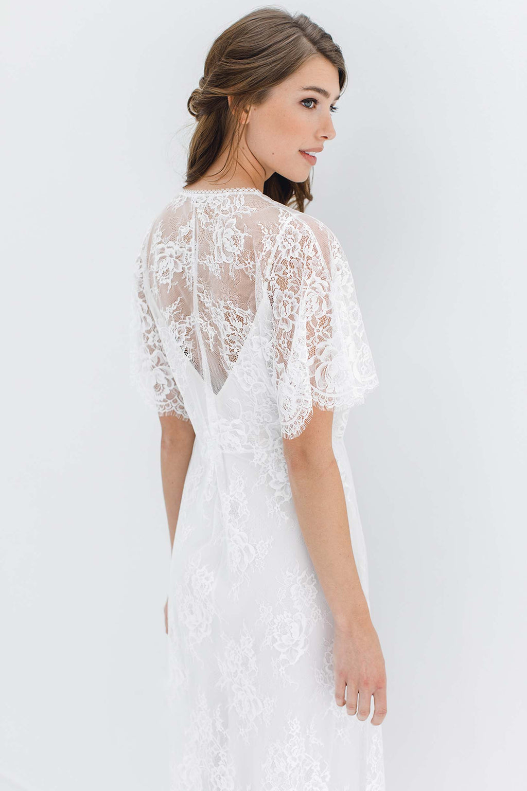 Anita Midi lace robe with flutter kimono sleeves in Ivory bridal silk dress