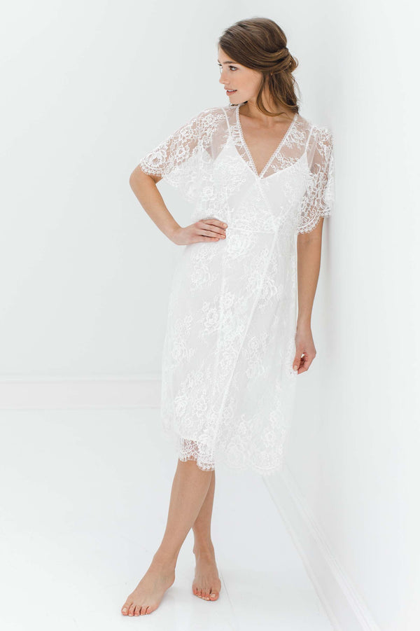 Anita Midi lace robe with flutter kimono sleeves in Ivory engaged silk dress