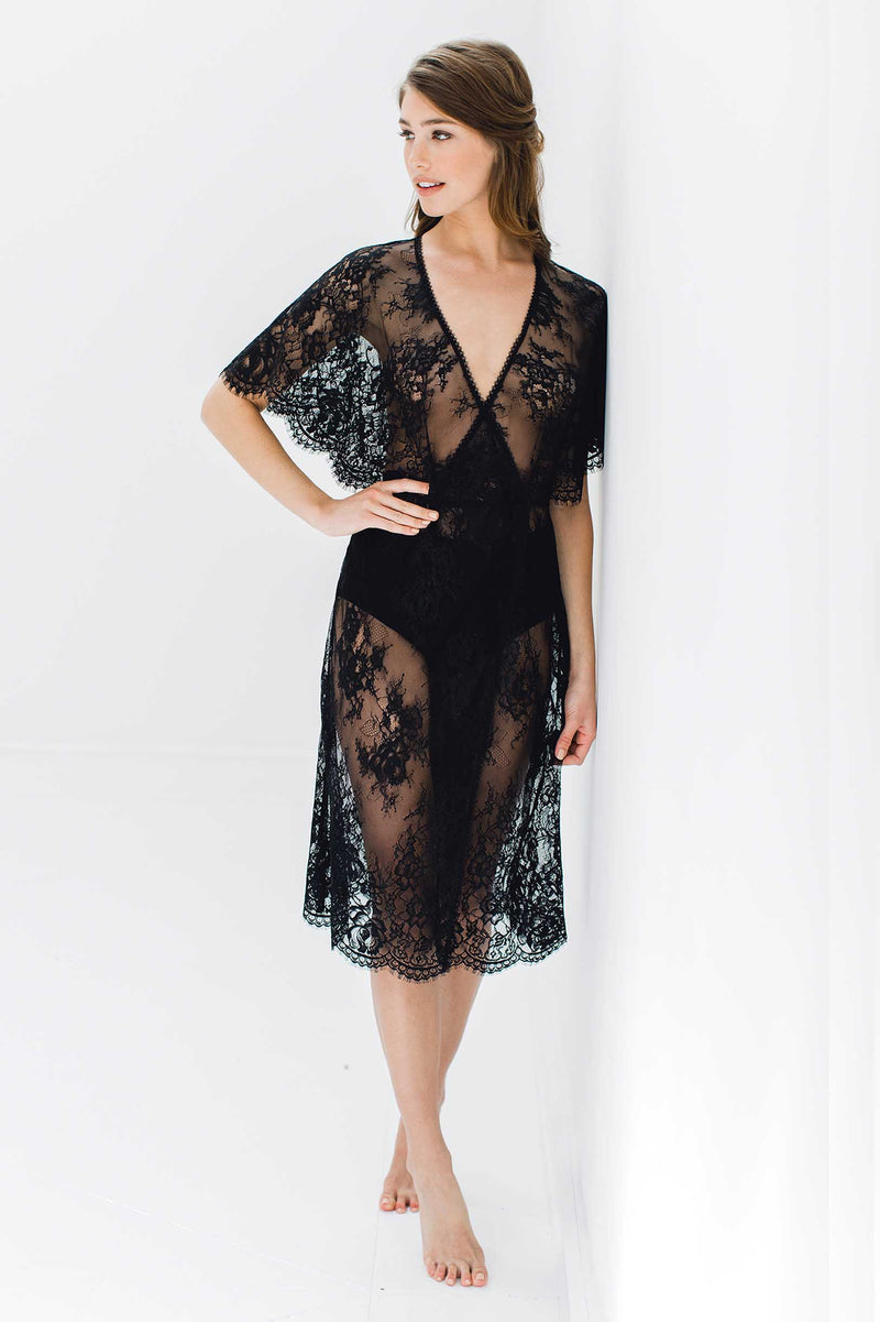 Anita Midi lace robe with flutter kimono sleeves in Black women's robe bride engaged dress