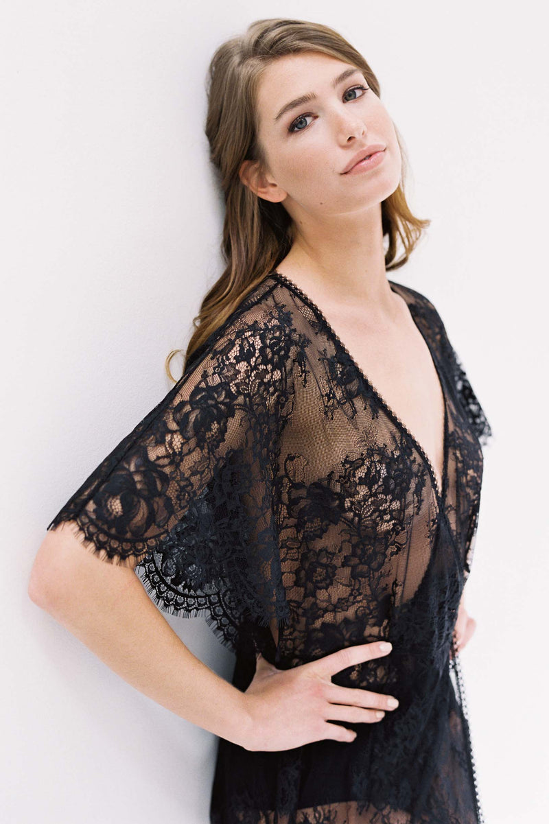Anita Midi lace robe with flutter kimono sleeves in Black bridal lingerie