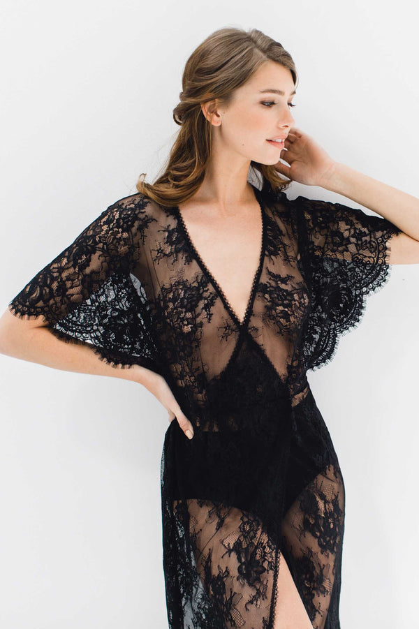 Anita Midi lace robe with flutter kimono sleeves in Black boudoir shoot