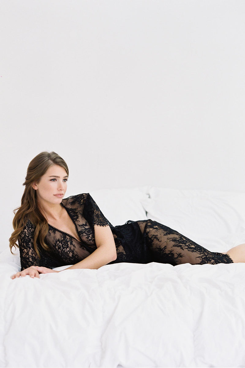 Anita Midi lace robe with flutter kimono sleeves in Black bridal honeymoon lingerie